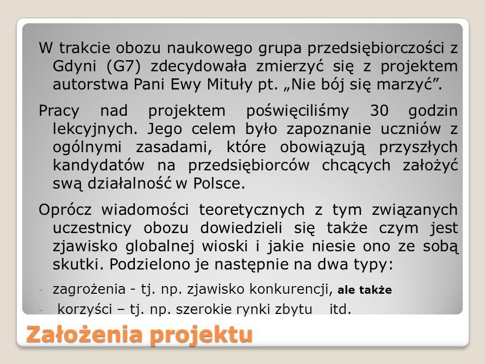 Założenia projektu W trakcie obozu naukowego grupa przedsiębiorczości z Gdyni (G7) zdecydowała zmierzyć się z projektem autorstwa Pani Ewy Mituły pt.