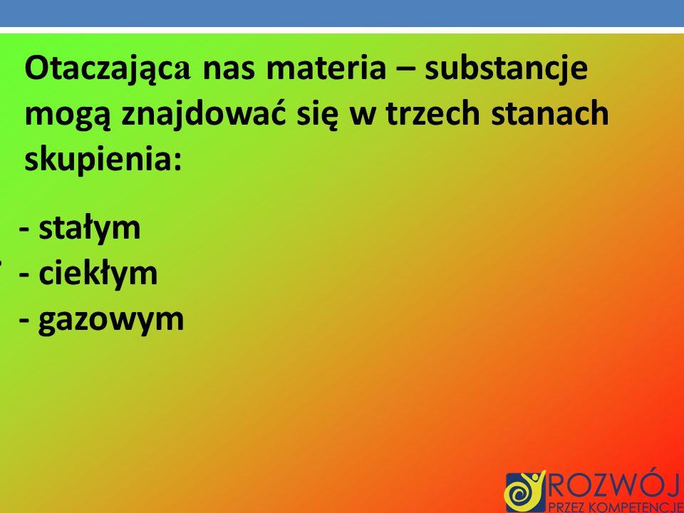 Otaczając a nas materia – substancje mogą znajdować się w trzech stanach skupienia:. - stałym - ciekłym - gazowym