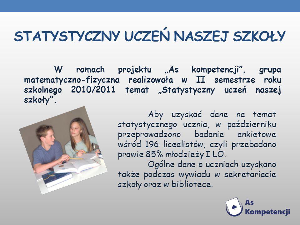 STATYSTYCZNY UCZEŃ NASZEJ SZKOŁY W ramach projektu As kompetencji, grupa matematyczno-fizyczna realizowała w II semestrze roku szkolnego 2010/2011 tem