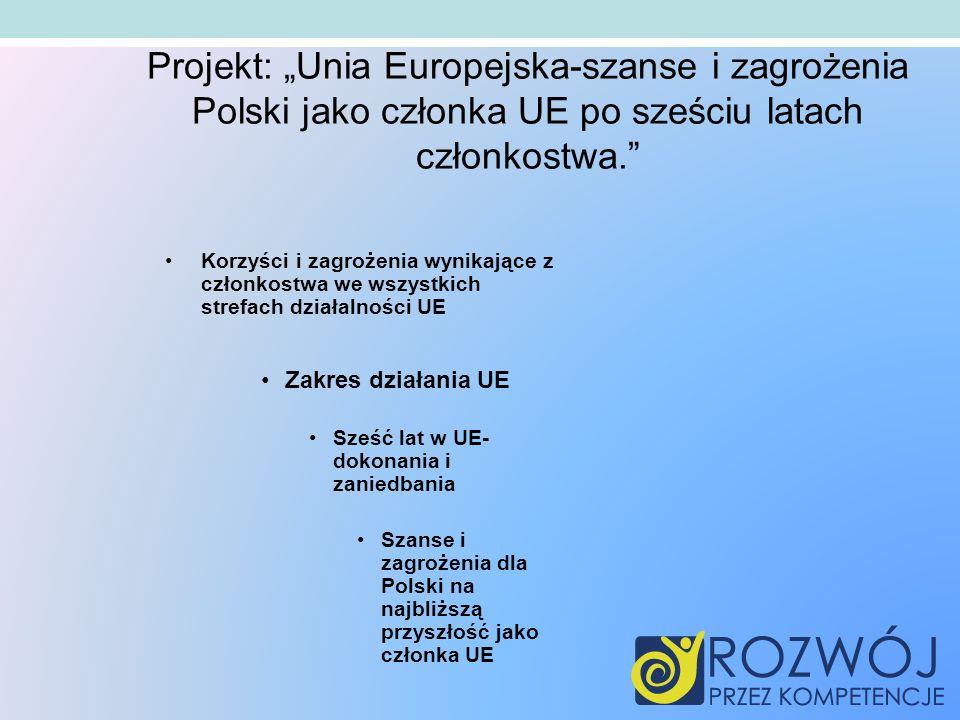 Korzyści i zagrożenia wynikające z członkostwa we wszystkich strefach działalności UE Zakres działania UE Sześć lat w UE- dokonania i zaniedbania Szanse i zagrożenia dla Polski na najbliższą przyszłość jako członka UE Projekt: Unia Europejska-szanse i zagrożenia Polski jako członka UE po sześciu latach członkostwa.
