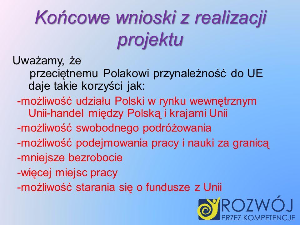 Końcowe wnioski z realizacji projektu przeciętnemu Polakowi przynależność do UE daje takie korzyści jak: -możliwość udziału Polski w rynku wewnętrznym Unii-handel między Polską i krajami Unii -możliwość swobodnego podróżowania -możliwość podejmowania pracy i nauki za granicą -mniejsze bezrobocie -więcej miejsc pracy -możliwość starania się o fundusze z Unii Uważamy, że