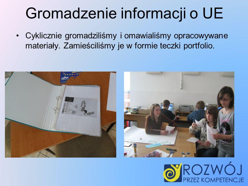 Gromadzenie informacji o UE Cyklicznie gromadziliśmy i omawialiśmy opracowywane materiały.