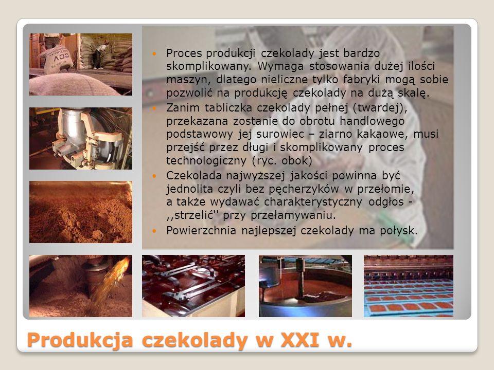 Produkcja czekolady w XXI w.Proces produkcji czekolady jest bardzo skomplikowany.