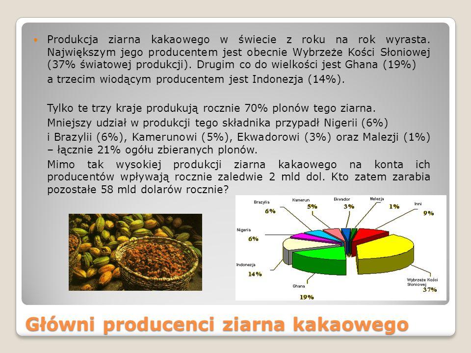 Główni producenci ziarna kakaowego Produkcja ziarna kakaowego w świecie z roku na rok wyrasta.