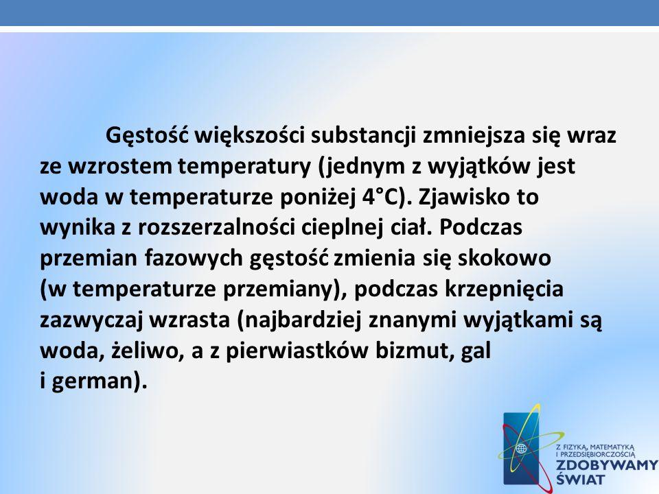 Gęstość większości substancji zmniejsza się wraz ze wzrostem temperatury (jednym z wyjątków jest woda w temperaturze poniżej 4°C). Zjawisko to wynika
