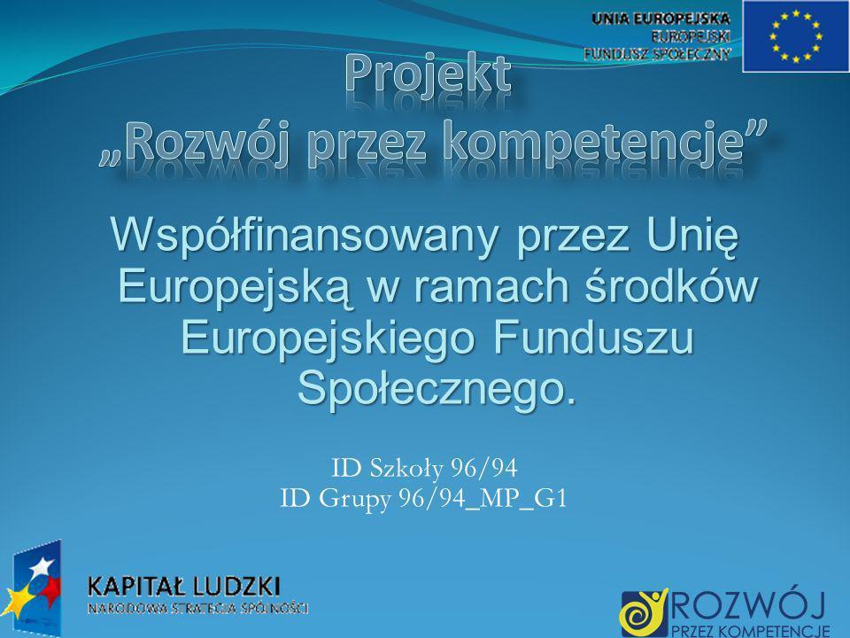 Współfinansowany przez Unię Europejską w ramach środków Europejskiego Funduszu Społecznego. ID Szkoły 96/94 ID Grupy 96/94_MP_G1