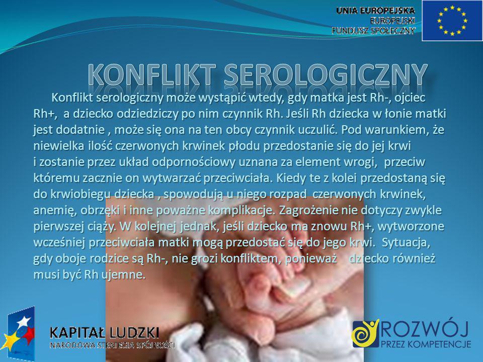 Konflikt serologiczny może wystąpić wtedy, gdy matka jest Rh-, ojciec Rh+, a dziecko odziedziczy po nim czynnik Rh. Jeśli Rh dziecka w łonie matki jes