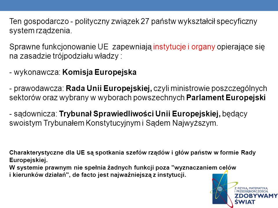 Ten gospodarczo - polityczny związek 27 państw wykształcił specyficzny system rządzenia. Sprawne funkcjonowanie UE zapewniają instytucje i organy opie