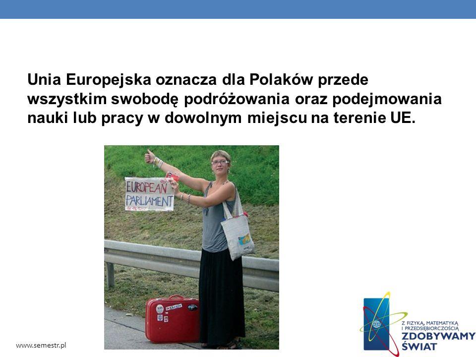 Unia Europejska oznacza dla Polaków przede wszystkim swobodę podróżowania oraz podejmowania nauki lub pracy w dowolnym miejscu na terenie UE. www.seme