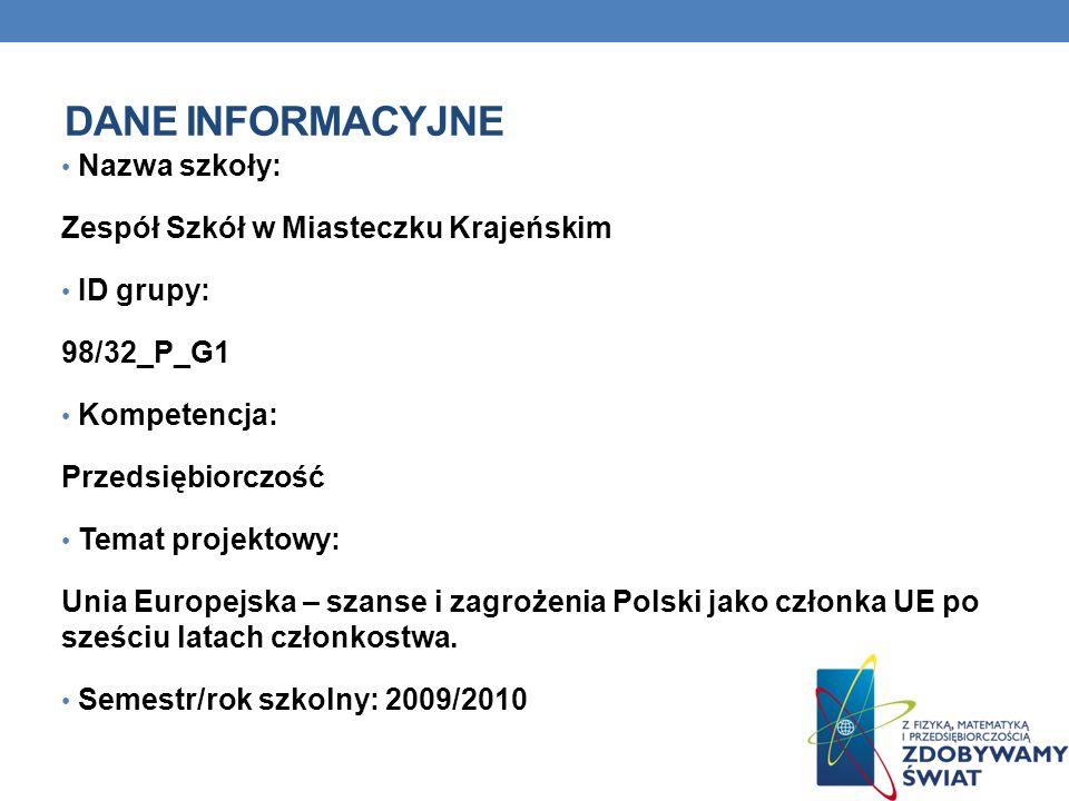 DANE INFORMACYJNE Nazwa szkoły: Zespół Szkół w Miasteczku Krajeńskim ID grupy: 98/32_P_G1 Kompetencja: Przedsiębiorczość Temat projektowy: Unia Europe