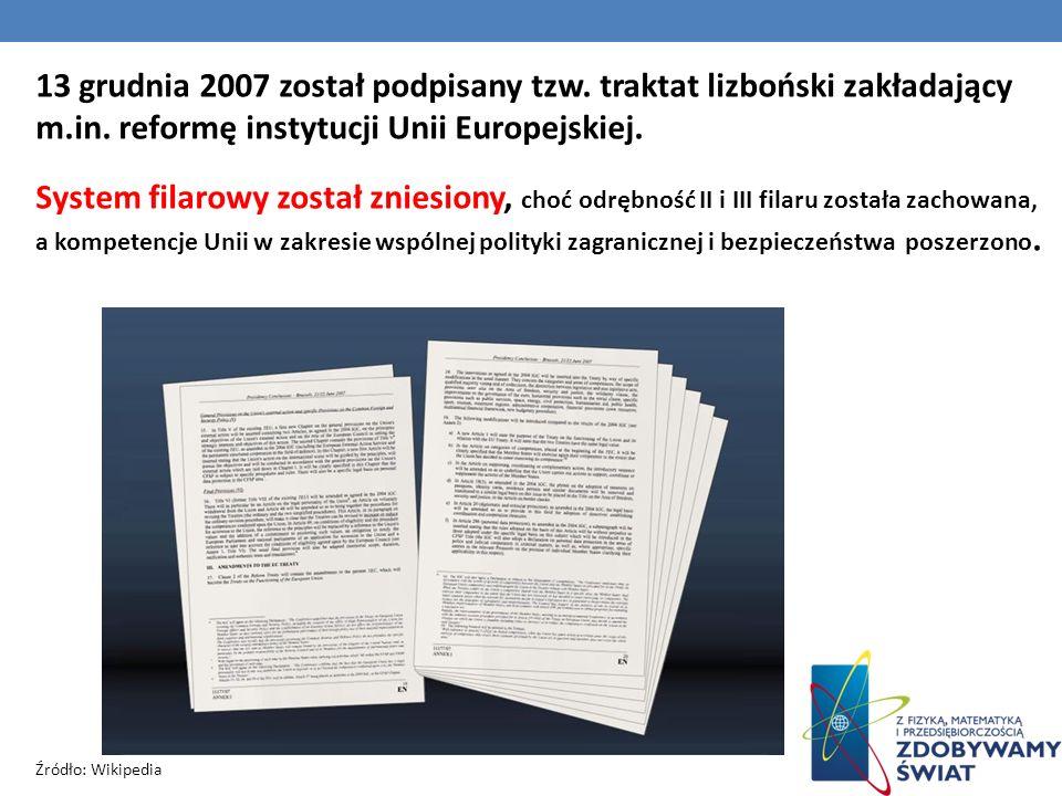 13 grudnia 2007 został podpisany tzw. traktat lizboński zakładający m.in. reformę instytucji Unii Europejskiej. System filarowy został zniesiony, choć
