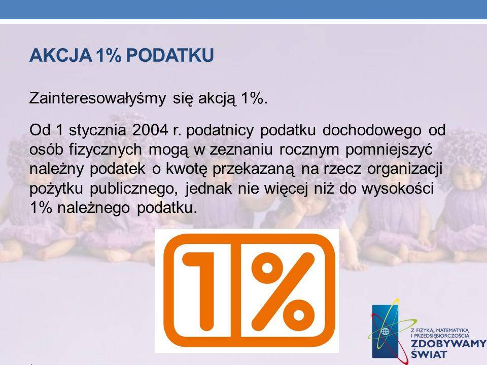 AKCJA 1% PODATKU Zainteresowałyśmy się akcją 1%. Od 1 stycznia 2004 r. podatnicy podatku dochodowego od osób fizycznych mogą w zeznaniu rocznym pomnie