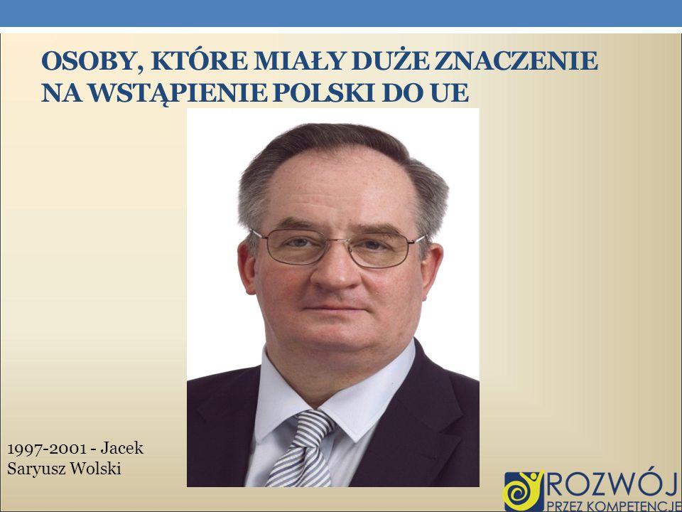OSOBY, KTÓRE MIAŁY DUŻE ZNACZENIE NA WSTĄPIENIE POLSKI DO UE 1997-2001 - Jacek Saryusz Wolski