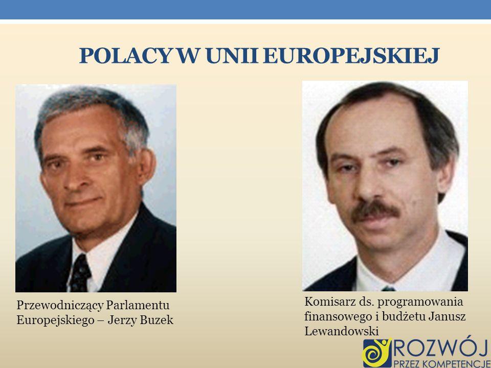 POLACY W UNII EUROPEJSKIEJ Komisarz ds. programowania finansowego i budżetu Janusz Lewandowski Przewodniczący Parlamentu Europejskiego – Jerzy Buzek