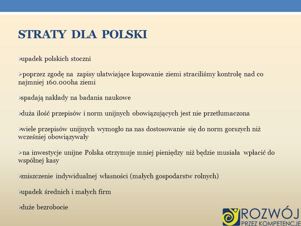 STRATY DLA POLSKI upadek polskich stoczni poprzez zgodę na zapisy ułatwiające kupowanie ziemi straciliśmy kontrolę nad co najmniej 160.000ha ziemi spa