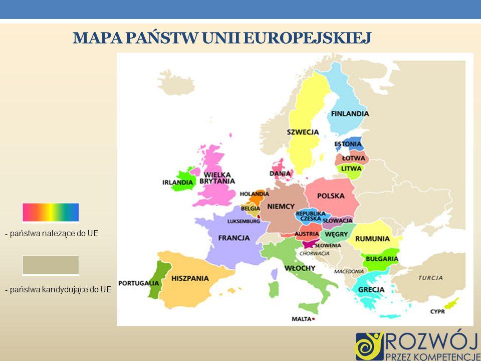 MAPA PAŃSTW UNII EUROPEJSKIEJ - państwa należące do UE - państwa kandydujące do UE
