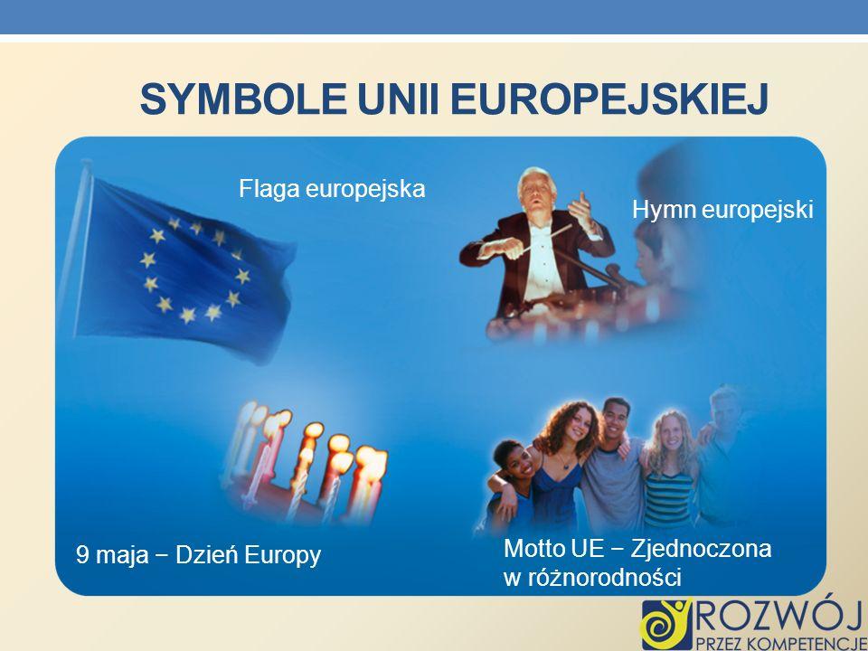 SYMBOLE UNII EUROPEJSKIEJ Flaga europejska 9 maja Dzień Europy Motto UE Zjednoczona w różnorodności Hymn europejski