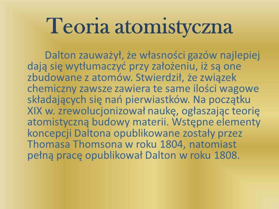 Teoria atomistyczna Dalton zauważył, że własności gazów najlepiej dają się wytłumaczyć przy założeniu, iż są one zbudowane z atomów. Stwierdził, że zw