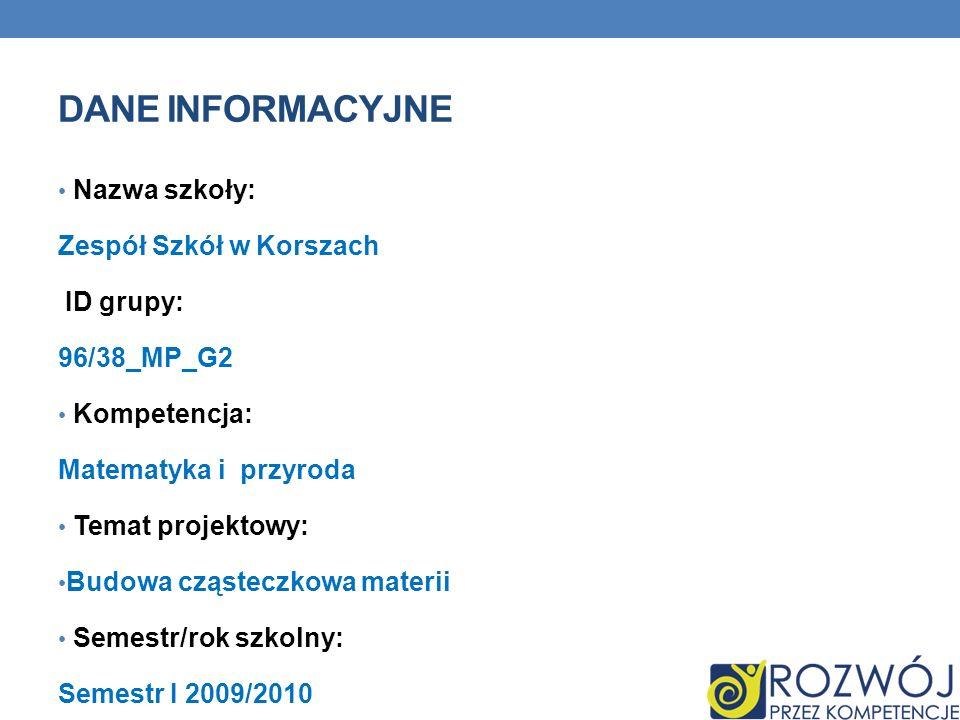 DANE INFORMACYJNE Nazwa szkoły: Zespół Szkół w Korszach ID grupy: 96/38_MP_G2 Kompetencja: Matematyka i przyroda Temat projektowy: Budowa cząsteczkowa