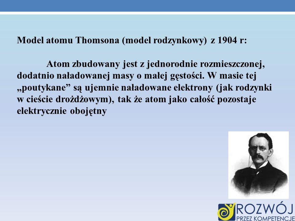 Model atomu Thomsona (model rodzynkowy) z 1904 r: Atom zbudowany jest z jednorodnie rozmieszczonej, dodatnio naładowanej masy o małej gęstości. W masi