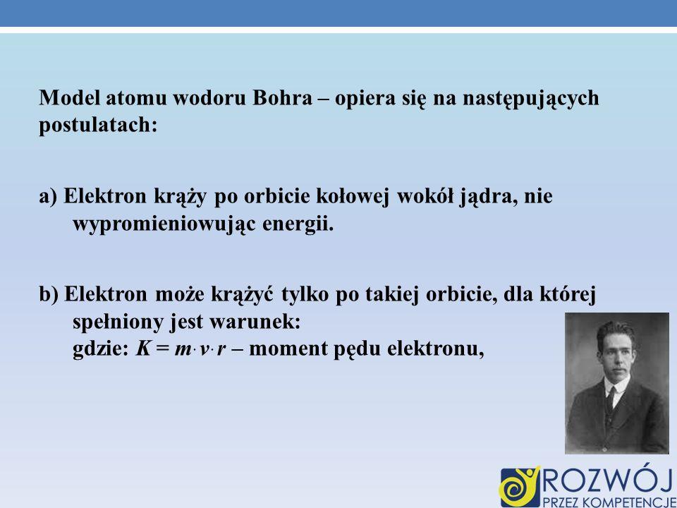 Model atomu wodoru Bohra – opiera się na następujących postulatach: a) Elektron krąży po orbicie kołowej wokół jądra, nie wypromieniowując energii. b)