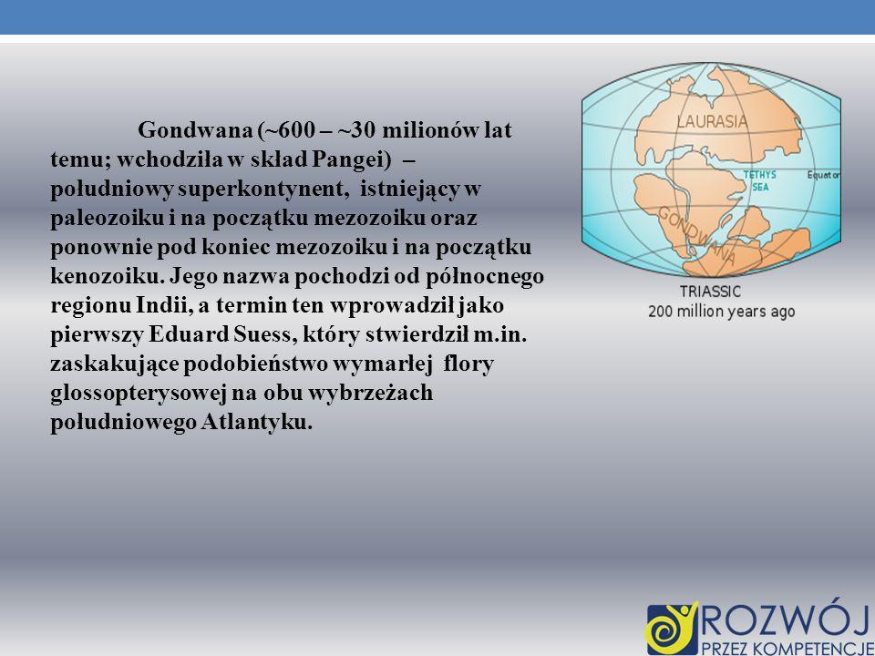 Gondwana (~600 – ~30 milionów lat temu; wchodziła w skład Pangei) – południowy superkontynent, istniejący w paleozoiku i na początku mezozoiku oraz po