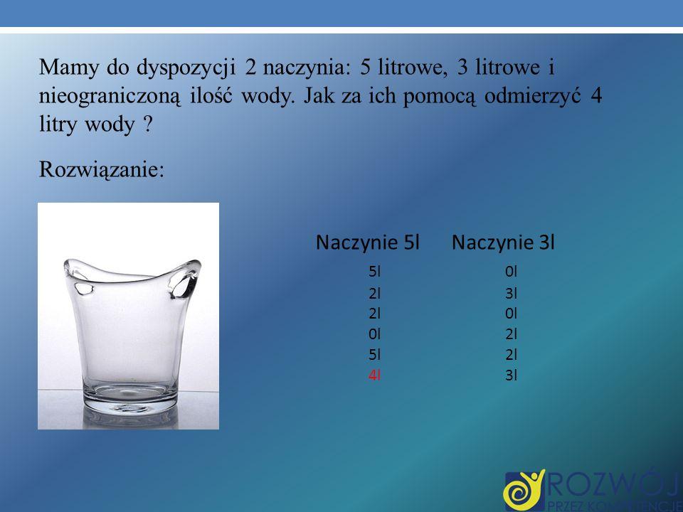 Mamy do dyspozycji 2 naczynia: 5 litrowe, 3 litrowe i nieograniczoną ilość wody. Jak za ich pomocą odmierzyć 4 litry wody ? Rozwiązanie: Naczynie 5l N