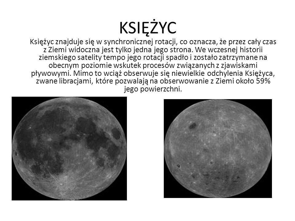 KSIĘŻYC Księżyc znajduje się w synchronicznej rotacji, co oznacza, że przez cały czas z Ziemi widoczna jest tylko jedna jego strona.
