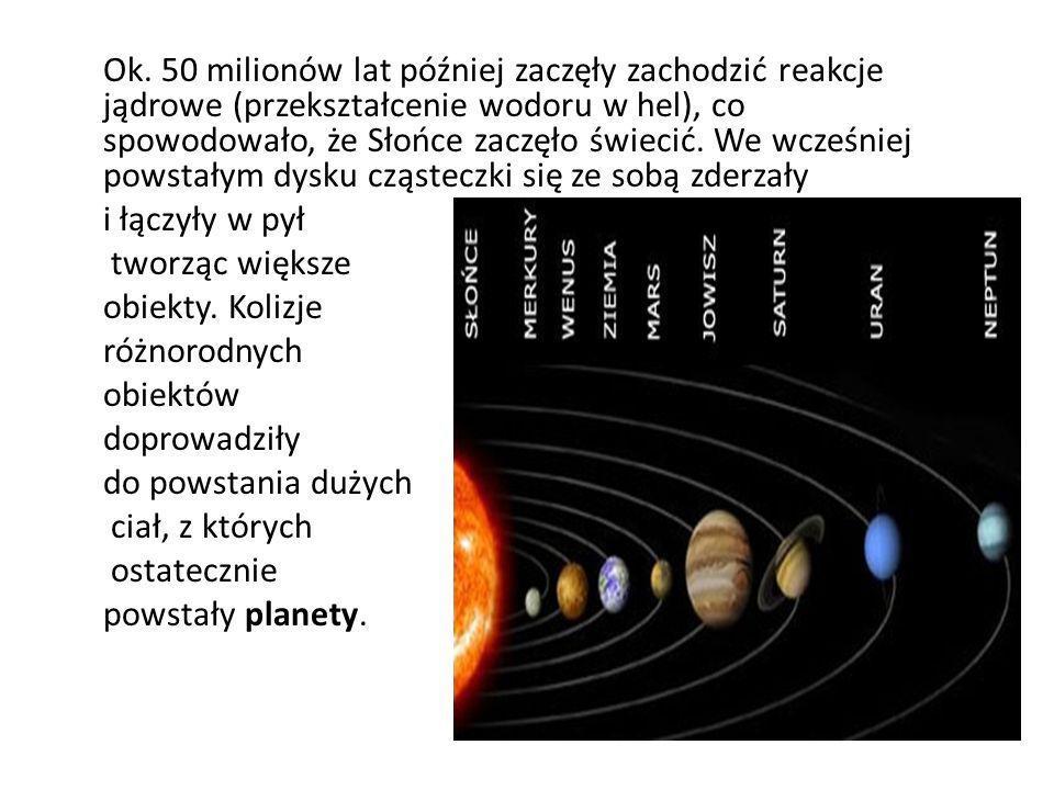 Ok. 50 milionów lat później zaczęły zachodzić reakcje jądrowe (przekształcenie wodoru w hel), co spowodowało, że Słońce zaczęło świecić. We wcześniej