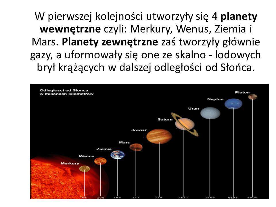W pierwszej kolejności utworzyły się 4 planety wewnętrzne czyli: Merkury, Wenus, Ziemia i Mars. Planety zewnętrzne zaś tworzyły głównie gazy, a uformo