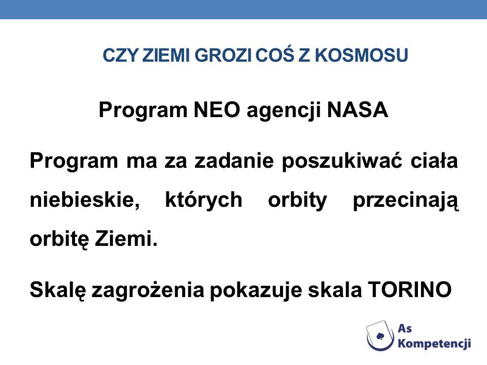 CZY ZIEMI GROZI COŚ Z KOSMOSU Program NEO agencji NASA Program ma za zadanie poszukiwać ciała niebieskie, których orbity przecinają orbitę Ziemi.