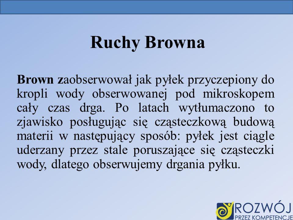 Ruchy Browna Brown zaobserwował jak pyłek przyczepiony do kropli wody obserwowanej pod mikroskopem cały czas drga.