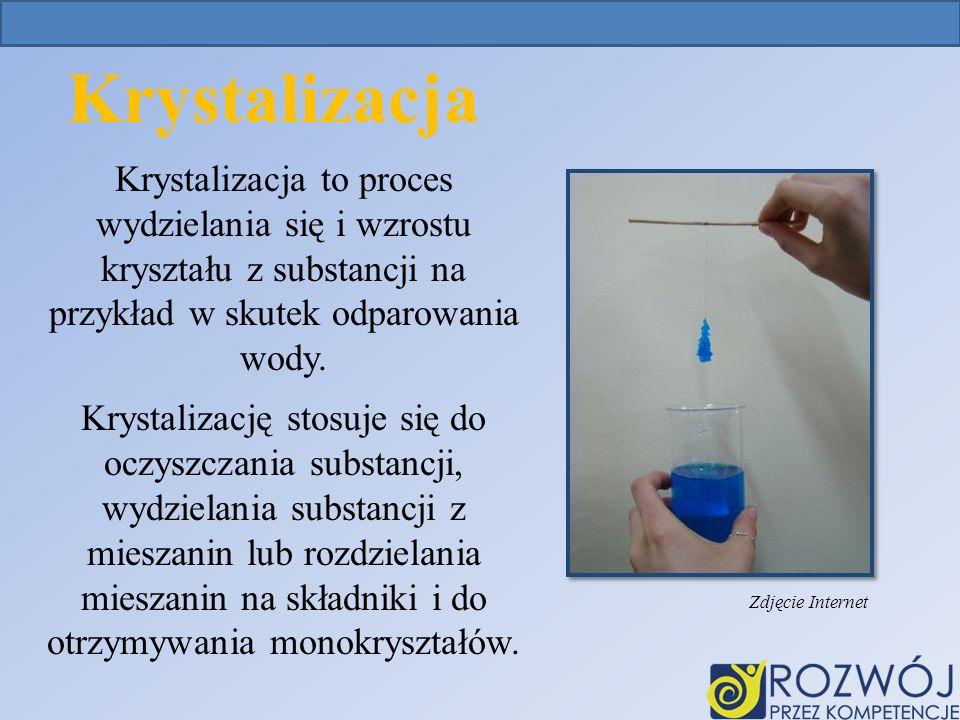 Krystalizacja Krystalizacja to proces wydzielania się i wzrostu kryształu z substancji na przykład w skutek odparowania wody.