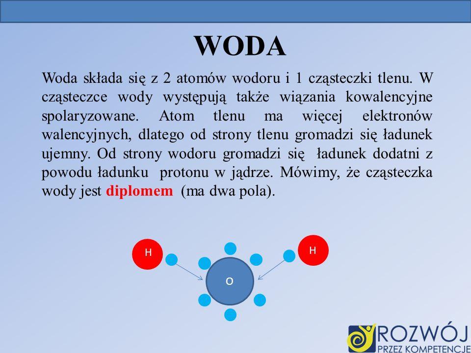 WODA Woda składa się z 2 atomów wodoru i 1 cząsteczki tlenu.