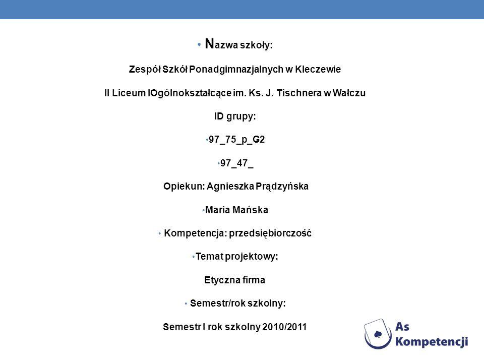 N azwa szkoły: Zespół Szkół Ponadgimnazjalnych w Kleczewie II Liceum IOgólnokształcące im.