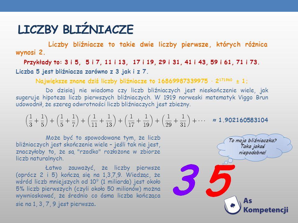 LICZBY BLIŹNIACZE Liczby bliźniacze to takie dwie liczby pierwsze, których różnica wynosi 2. Przykłady to: 3 i 5, 5 i 7, 11 i 13, 17 i 19, 29 i 31, 41