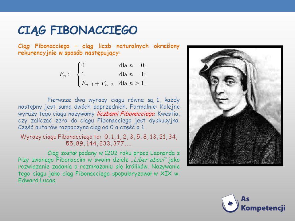 CIĄG FIBONACCIEGO Ciąg Fibonacciego – ciąg liczb naturalnych określony rekurencyjnie w sposób następujący: Pierwsze dwa wyrazy ciągu równe są 1, każdy