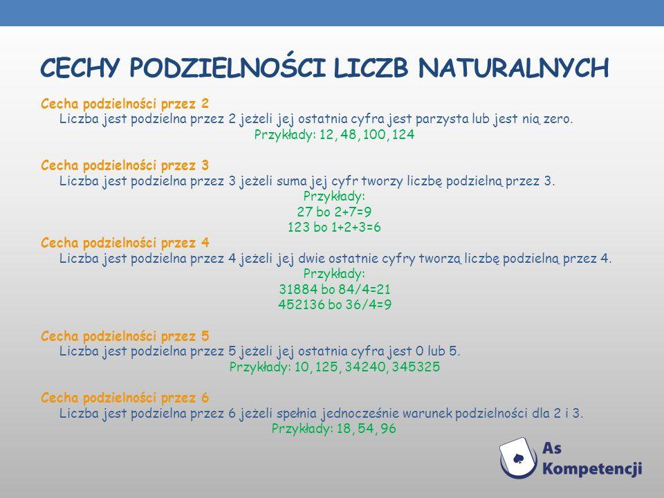 CECHY PODZIELNOŚCI LICZB NATURALNYCH Cecha podzielności przez 2 Liczba jest podzielna przez 2 jeżeli jej ostatnia cyfra jest parzysta lub jest nią zer