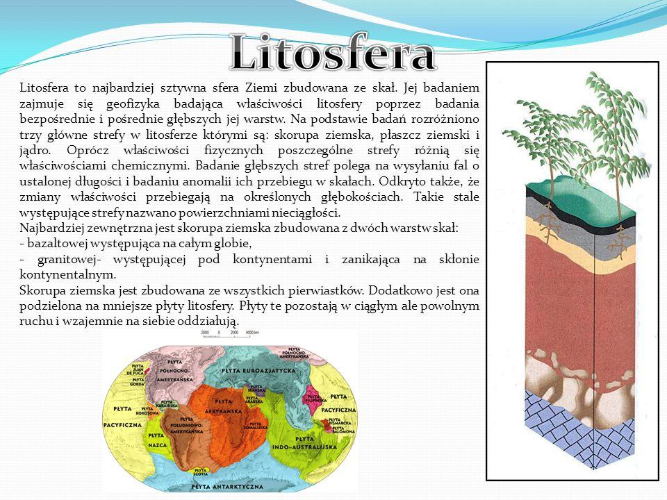 Litosfera to najbardziej sztywna sfera Ziemi zbudowana ze skał. Jej badaniem zajmuje się geofizyka badająca właściwości litosfery poprzez badania bezp