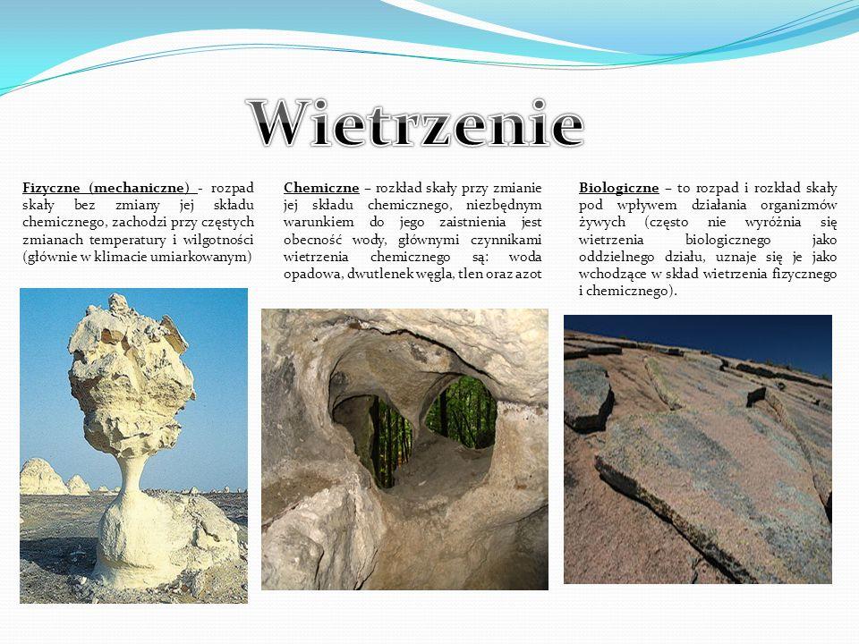 Fizyczne (mechaniczne) - rozpad skały bez zmiany jej składu chemicznego, zachodzi przy częstych zmianach temperatury i wilgotności (głównie w klimacie umiarkowanym) Chemiczne – rozkład skały przy zmianie jej składu chemicznego, niezbędnym warunkiem do jego zaistnienia jest obecność wody, głównymi czynnikami wietrzenia chemicznego są: woda opadowa, dwutlenek węgla, tlen oraz azot Biologiczne – to rozpad i rozkład skały pod wpływem działania organizmów żywych (często nie wyróżnia się wietrzenia biologicznego jako oddzielnego działu, uznaje się je jako wchodzące w skład wietrzenia fizycznego i chemicznego).