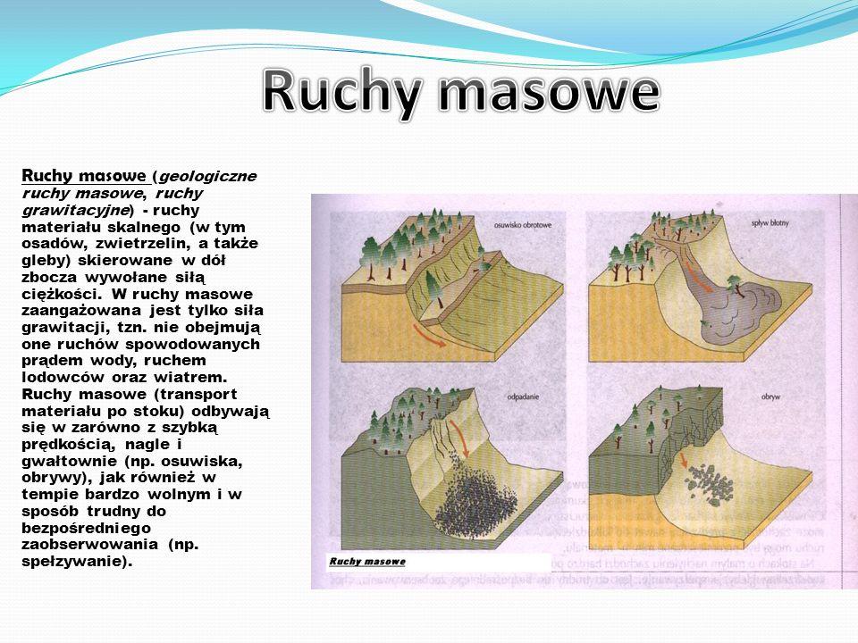 Ruchy masowe (geologiczne ruchy masowe, ruchy grawitacyjne) - ruchy materiału skalnego (w tym osadów, zwietrzelin, a także gleby) skierowane w dół zbocza wywołane siłą ciężkości.