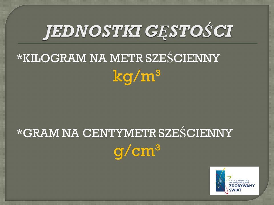 *KILOGRAM NA METR SZE Ś CIENNY kg/m³ *GRAM NA CENTYMETR SZE Ś CIENNY g/cm³