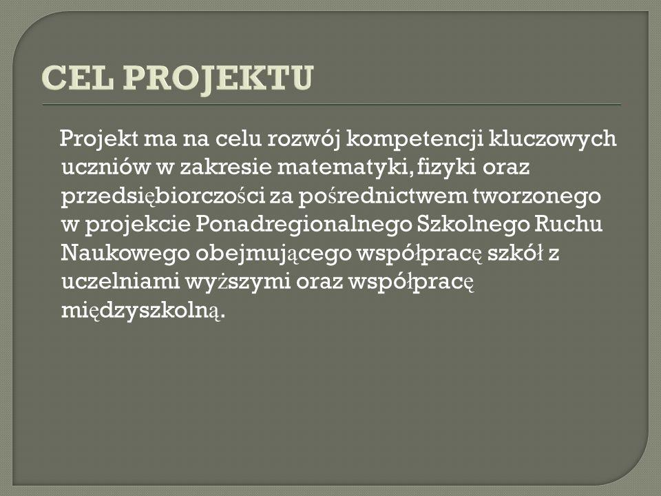 CEL PROJEKTU Projekt ma na celu rozwój kompetencji kluczowych uczniów w zakresie matematyki, fizyki oraz przedsi ę biorczo ś ci za po ś rednictwem tworzonego w projekcie Ponadregionalnego Szkolnego Ruchu Naukowego obejmuj ą cego wspó ł prac ę szkó ł z uczelniami wy ż szymi oraz wspó ł prac ę mi ę dzyszkoln ą.