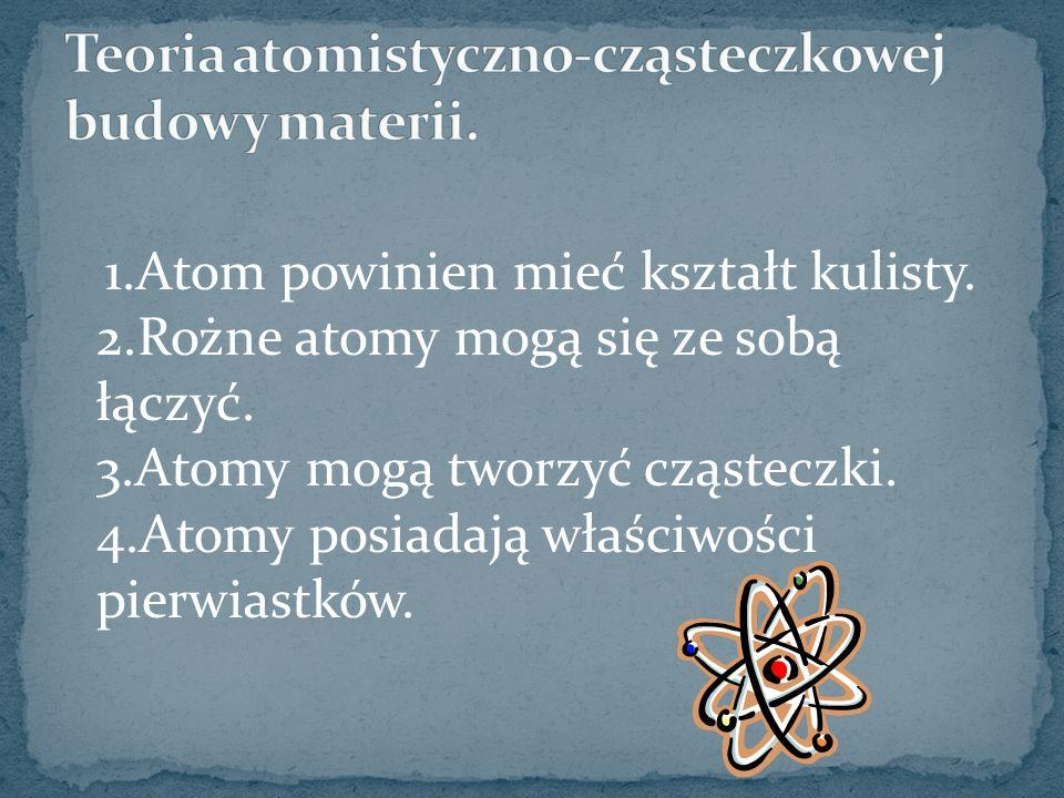 1.Atom powinien mieć kształt kulisty. 2.Rożne atomy mogą się ze sobą łączyć. 3.Atomy mogą tworzyć cząsteczki. 4.Atomy posiadają właściwości pierwiastk