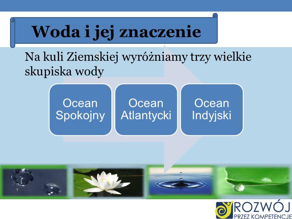 Woda i jej znaczenie Ocean Spokojny Ocean Atlantycki Ocean Indyjski Na kuli Ziemskiej wyróżniamy trzy wielkie skupiska wody