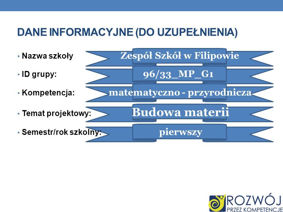 DANE INFORMACYJNE (DO UZUPEŁNIENIA) Nazwa szkoły: Zespół Szkół w Filipowie ID grupy: 96/33_MP_G1 Kompetencja: matematyczno - przyrodnicza Temat projek