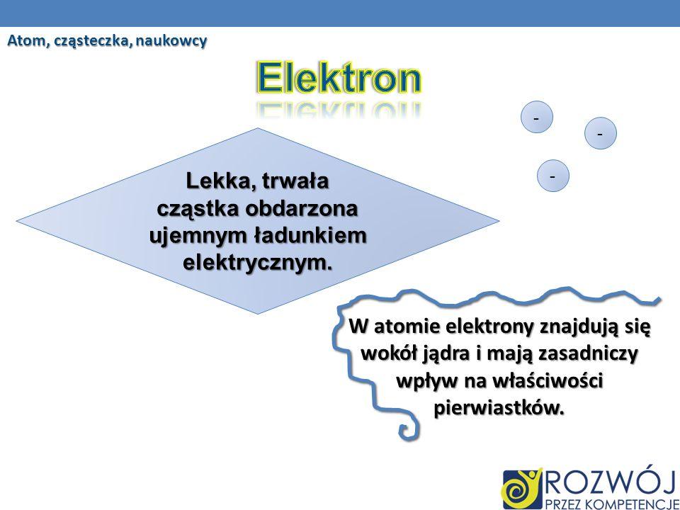 Atom, cząsteczka, naukowcy Lekka, trwała cząstka obdarzona ujemnym ładunkiem elektrycznym.