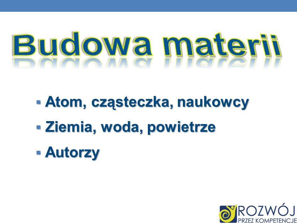 Atom, cząsteczka, naukowcy Atom, cząsteczka, naukowcy Ziemia, woda, powietrze Ziemia, woda, powietrze Autorzy Autorzy