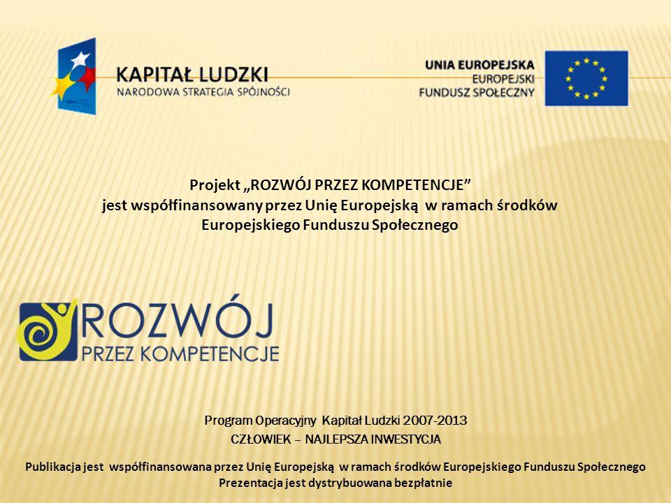 Projekt ROZWÓJ PRZEZ KOMPETENCJE jest współfinansowany przez Unię Europejską w ramach środków Europejskiego Funduszu Społecznego Program Operacyjny Ka