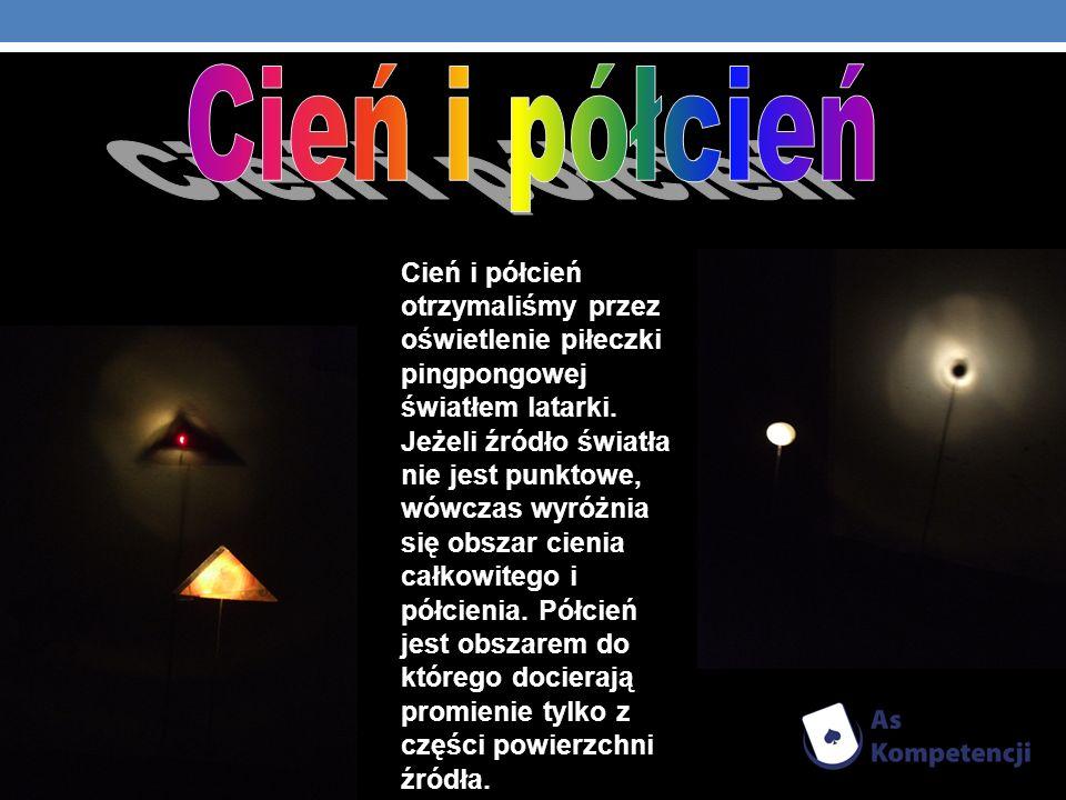 Cień i półcień otrzymaliśmy przez oświetlenie piłeczki pingpongowej światłem latarki. Jeżeli źródło światła nie jest punktowe, wówczas wyróżnia się ob